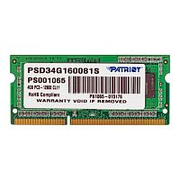 Модуль памяти So-DIMM Patriot PSD34G160081S DDR3 4GB 1600MHz